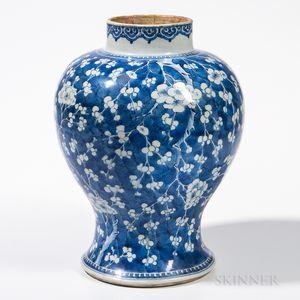 Blue and White Prunus Jar