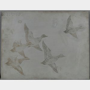 Frank Weston Benson (American, 1862-1951)      Two Etching Plates:  Zinc Plate for Flying Widgeon