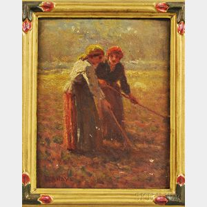 George Arthur Hays (American, 1854-1945)      Two Peasant Women at Work in a Field
