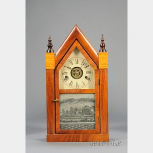 "Mahogany Miniature ""Sharp Gothic"" or Steeple Clock by Daniel Pratt & Sons"