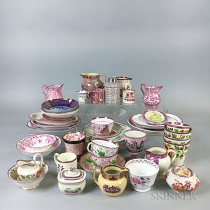 Approximately Forty-three Pink Lustre Items.