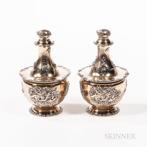 Pair of Tiffany & Co. Sterling Silver-gilt Perfume Bottles