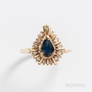 14kt Gold, Sapphire, and Diamond Ring