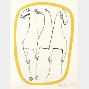 Marino Marini (Italian, 1901-1980)      Trois chevaux, bordure jaune