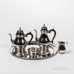 Five-piece Tiffany & Co. Sterling Silver Tea and Coffee Set Including Tray