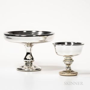 Two Mercury Glass Compotes