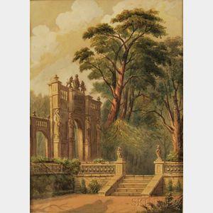 British School, 19th/20th Century      Woodland Garden with Monumental Stone Gate.