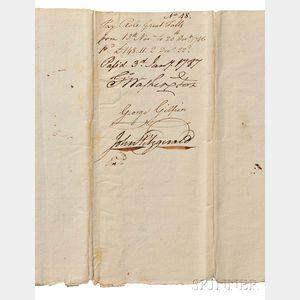 Washington, George (1732-1799) Document Signed, Virginia, 3 January 1787.
