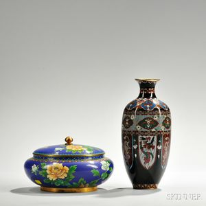 Cloisonne Covered Bowl and Vase