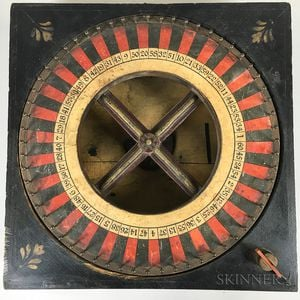 Small Lithographed Wood and Iron Roulette Wheel