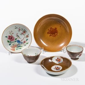 Five Export Batavia Brown-glazed Dishes and Cups