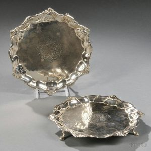 Two George II Sterling Silver Card Trays