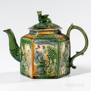 Staffordshire Creamware Hexagonal Teapot and Cover