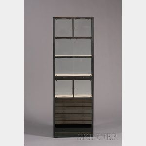 Two Tall Metal and Glass Display Cases