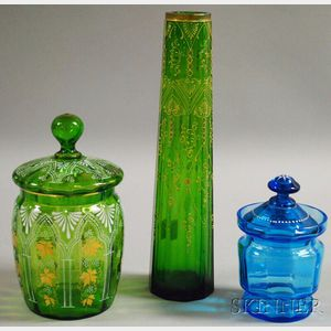 Three Enamel-decorated Colored Glass Items