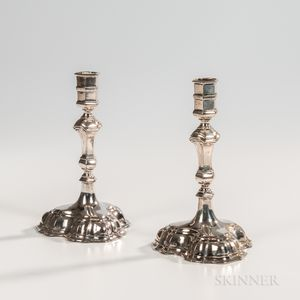 Pair of Continental Silver Candlesticks