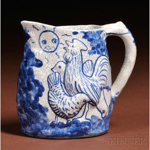 Dedham Pottery Night and Morning Pitcher