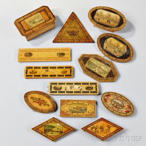 Thirteen Transfer-decorated Cribbage Boards