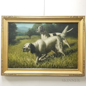 Attributed to Alexander Pope (Massachusetts, 1849-1924)       Two Hunting Dogs