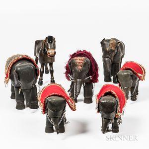 Seven Schoenhut Wooden Toy Animals