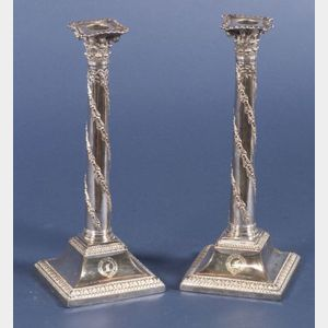 Pair of Georgian Weighted Sheffield Plate Candlesticks
