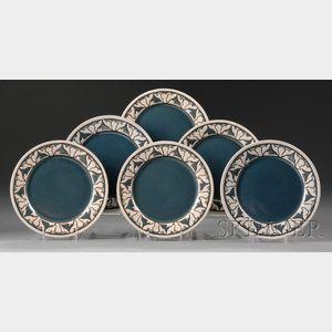 Six Saturday Evening Girls Pottery Plates