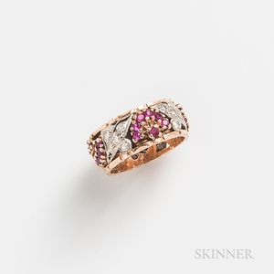 Retro Rose Gold, Ruby, and Diamond Band