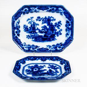 Two Large Flow Blue Platters