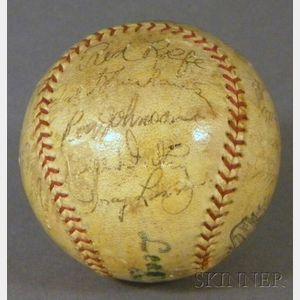 1936 New York Yankees Autographed Baseball