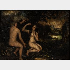 Continental School, 19th Century      Adam and Eve by the Tree of Knowledge