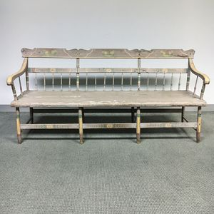 Paint-decorated Pine Deacon's Bench