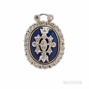 Antique Diamond and Enamel Pendant