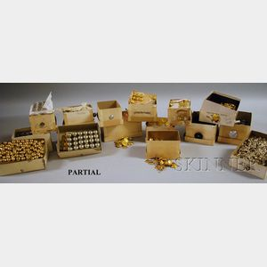 Collection of Unused and Boxed Pressed Metal Buttons