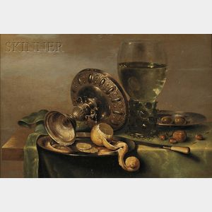 Sold for: $666,000 - Willem Claesz Heda (Dutch, 1594-c. 1680)      Still Life with Tazza, Peeled Lemon, and Roemer