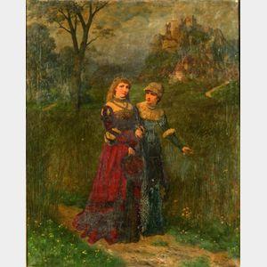 Friedrich Bodenmuller (German, 1845-1913)    Two Women Before a Hillside Castle