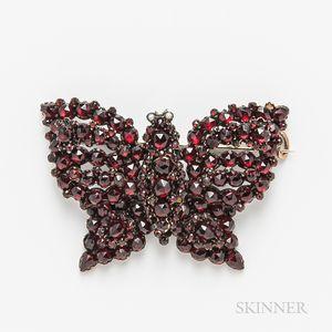 Antique Garnet Butterfly Brooch