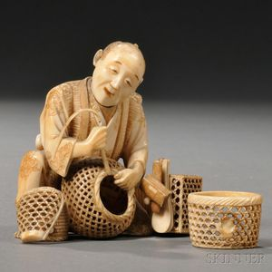 Ivory Okimono of a Basket Weaver