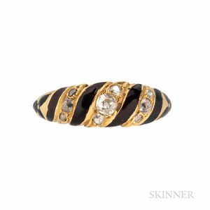 Victorian 18kt Gold, Enamel, and Diamond Mourning Ring