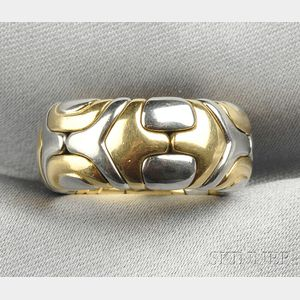"""18kt Gold and Stainless Steel """"Alveare"""" Ring, Bulgari"""