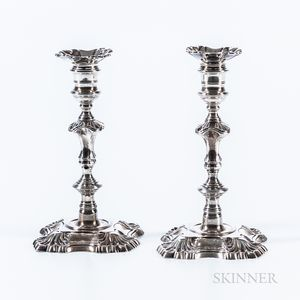 Pair of Sterling Silver Petal-base Candlesticks