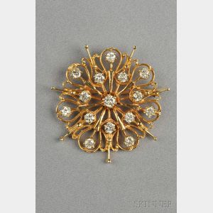 14kt Gold and Diamond Brooch