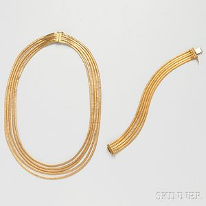 18kt Gold Necklace and Bracelet, Retailed by Cartier