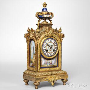 Gilt-brass and Porcelain Mantel Clock