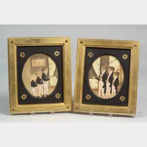 American/French School, 19th Century      Pair of Memorial Pictures Six Boys Mourning Their Father.