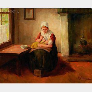 Hendrick van Langen (Dutch, 1874-1965)    Feeding Baby