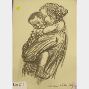 Framed Collotype on Paper of a Mother and Child After Käthe Kollwitz      (German, 1867-1945)