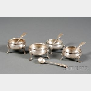 Two Pairs of George III Silver Open Salts
