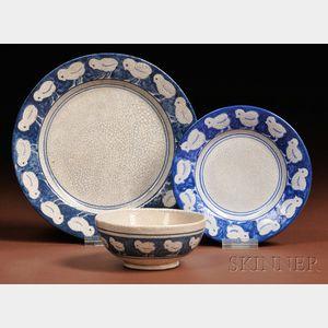 Three Pieces of Dedham Chick Pottery