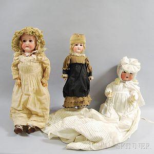 Three German Bisque Head Dolls