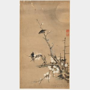 Painting Depicting Two Birds in a Plum Tree